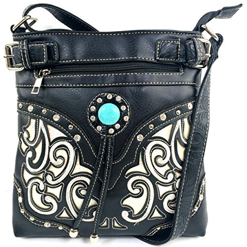 Purse White Strap Cross Long Stone Bag Justin Cut Turquoise Gleaming Body Rhinestone Laser with West Tooled Messenger Floral Black waq4HP