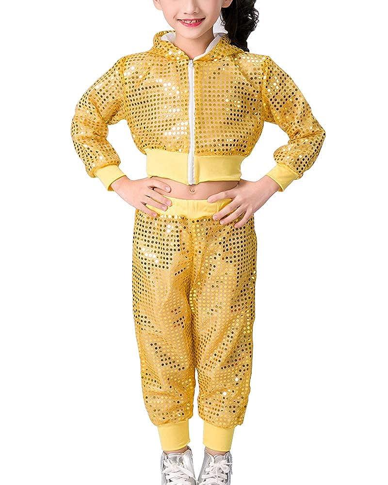 Ragazze Set di Vestiti di Ballo di Strada di Costume delle Paillettes Hip-Hop Danza Jazz Top Pantaloni