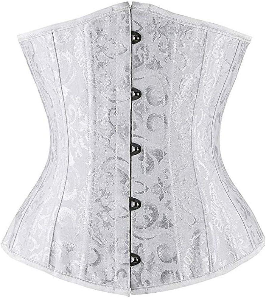 Kelvry Womens Satin Waist Cincher Lace up Boned Bustier Underbust Corset White