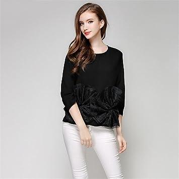 Damas moda casual Camisa Blusa Camisa manga ha encontrado siete todo temperamento,Black,S