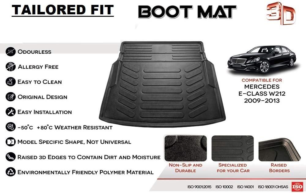 Car Mats Bespoke E Class W212 2009-2013 saloon boot mat liner tray protector Premium custom tailored fit black waterproof