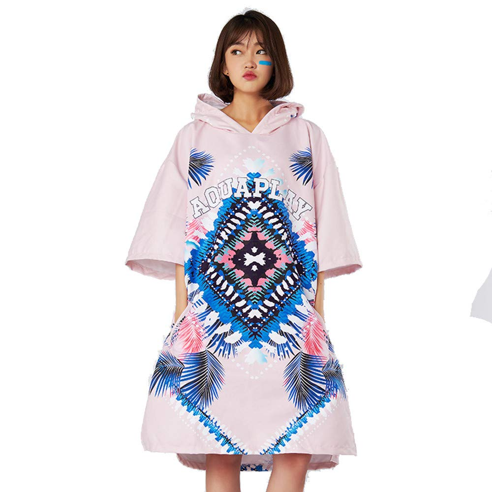 Unisex Changing Bath Robe Adult Beach Surf Towel Print Bathrobe QuickDrying Polyester Hooded Poncho Cloak with Hood (Pink) for Beach Surf Swim Triathlon