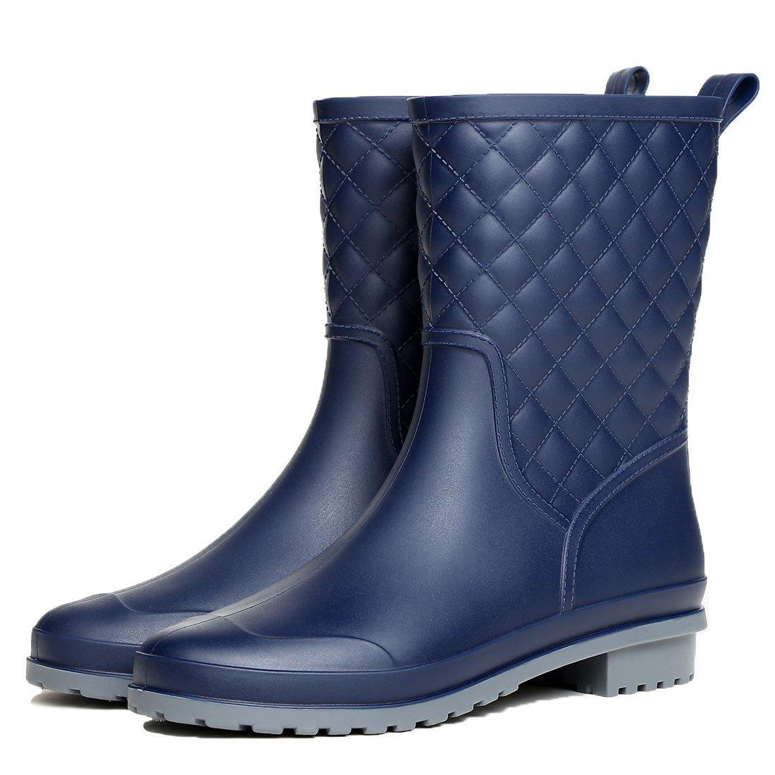 Litfun Womens Mid Calf Rain Boots Outdoor Garden Work Waterproof Boots Wide Calf Rain Shoes