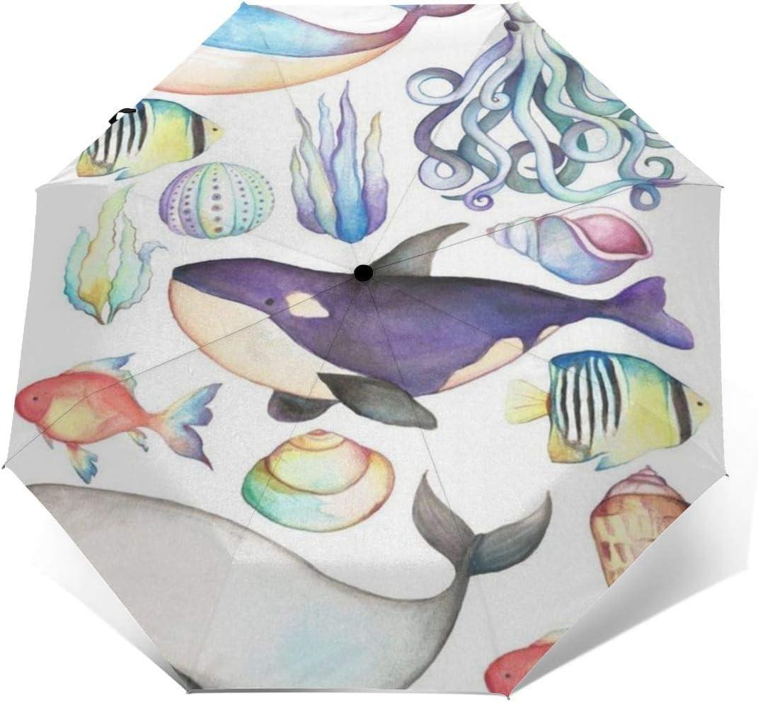 XGXC Under The Sea Sealife Whale Automatic Tri-fold Umbrella Outer Print One Size