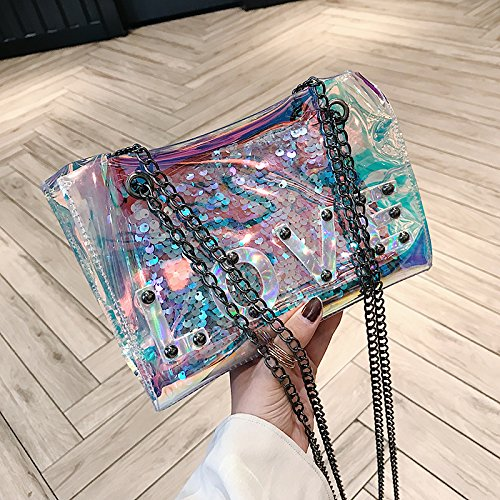 Laser Bag Female 2018 New Wave Korean Version Of The Mosaic Pvc Transparent Bag, Summer Small Bag Single Shoulder Shoulder Bag Chain Silvery