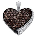 Brown Diamond Heart Pendant 10k White Gold Love Charm Fashion Chocolate Cluster Style Fancy 7/8 Cttw