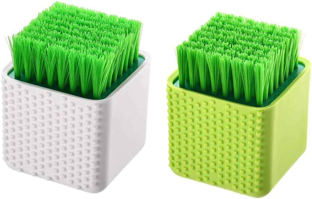 2 Pack Silicone Laundry Brush Scrub Multi-use Household Cloth Washing Brush Dual-use Scrubbing Brush for Clothes Underwear Shoes, Plastic Soft Cleaning Tool