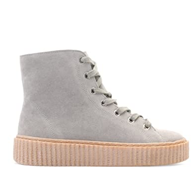 3b0af25d6126 Womens Lace Up Fastening Hi Top Creepers Grey Faux Suede and Gum Sole 4