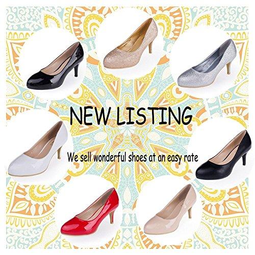 Half Larger Women's Shoes Patent Size Pumps White SheSole tqB7AwTT