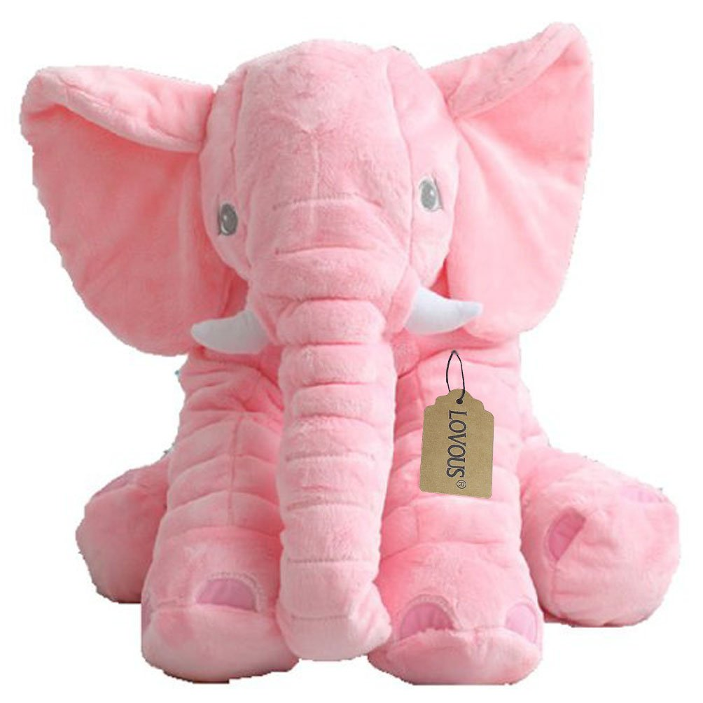 LOVOUS Super Soft Cute Big Stuffed Elephant Plush Doll, Baby Elephants Toys (Pink)
