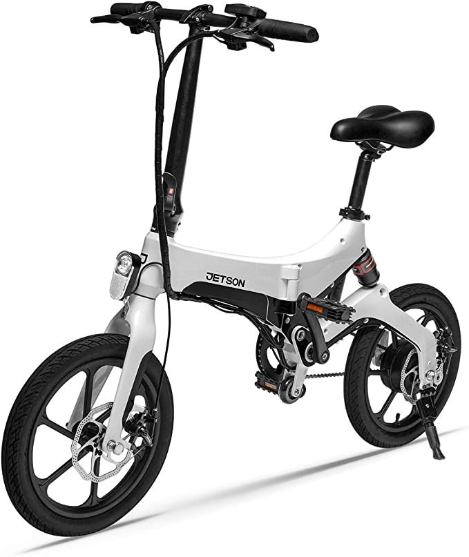 Jetson Metro Electric Folding Bike with Twist Throttle, Pedal Assist, and LED Headlight - White
