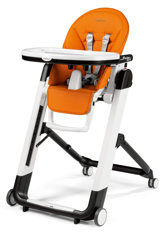 Design-Hochstuhl mit Baby-Liegefunktion und Stop/&Go-System mit Memory-Funktion Peg Perego Siesta Follow Me Arancia Lederimitat-Bezug orange