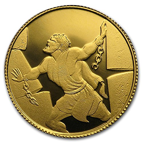 2016 IL Israel 1/25 oz Gold Samson in the Philistine House Proof Gold Brilliant Uncirculated