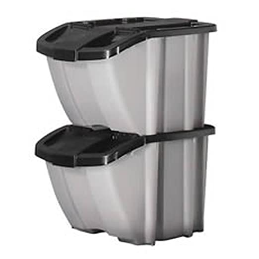 Amazon.com: Suncast Stacking Recycling Bins 2 Bin Value Pack BH188810: Home  U0026 Kitchen