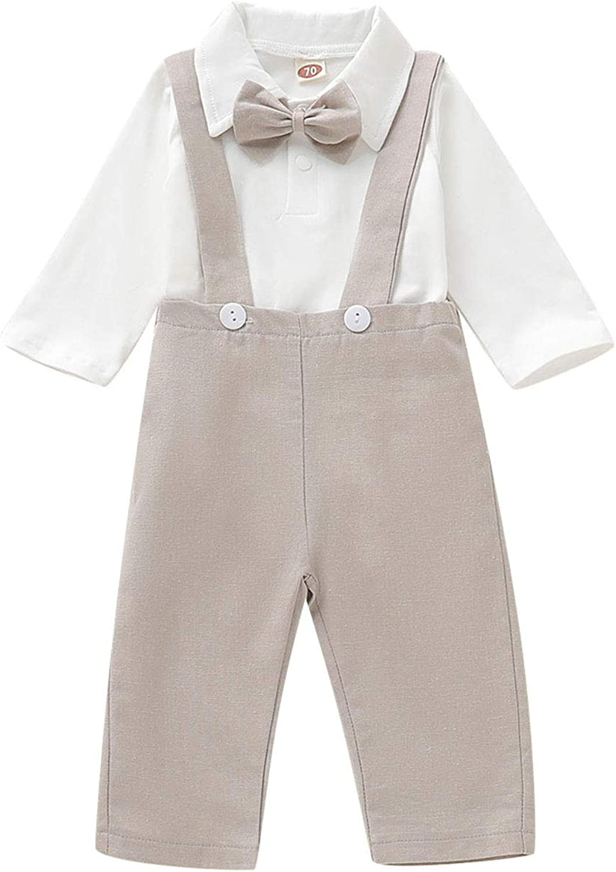 SOBOWO Newborn Baby Boys Gentleman Rompers Jumpsuit Long Sleeve One-Piece Bowtie Sleepsuit Overalls for Baptism Wedding