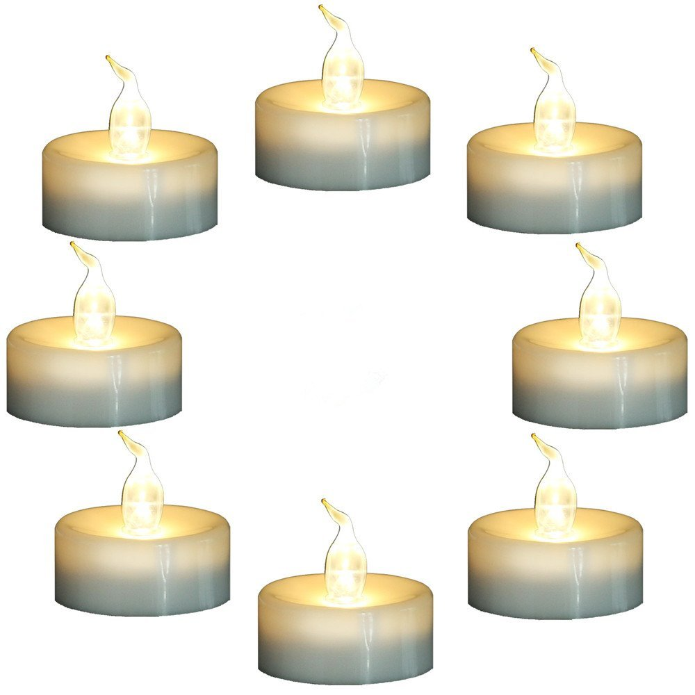 Topstone Flameless Flickering Candles with Timer,6 Hours On and 18 Hours Off in Cycle,Battery Operated Warm White LED Tea Light Candles,for Valentine\'s Day Wedding Party Home Decor,Pack of 8
