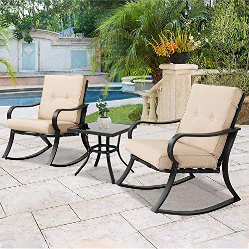 (SOLAURA Outdoor Rocking Chairs Bistro Set 3-Piece Black Steel Furniture with Brown Thickened Cushion & Glass Coffee Table)
