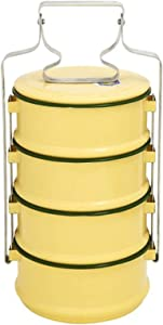 Thai Style Enamel Tiffin Lunch Box Food Container Pinto Carrier Bento Yellow 4 Stacks