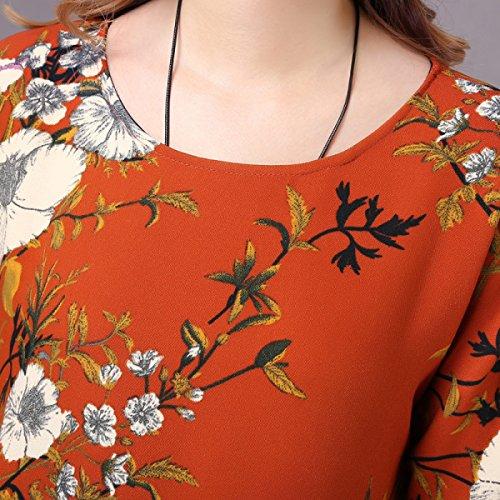 Ein Ärmel Frauen Große Winterkleid Rock Linie Hals Kleid Orange Gedruckt Lose Elegante Größe Lange Runde Und Neue Herbst tvgqwzBw