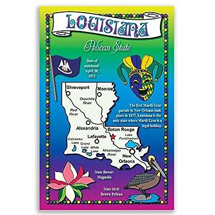 Amazon Louisiana State Map Postcard Set Of 20 Identical