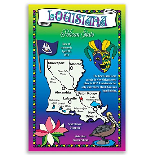 - LOUISIANA STATE MAP postcard set of 20 identical postcards. Post cards with LA map and state symbols. Made in USA.