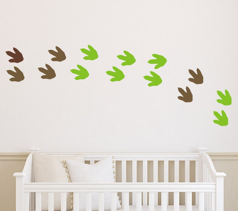 Coffee//Tree Green Window Wall Decor Sticker 24 Cute Dinosaur Footprints Stickers Art Vinyl Wall Decal for Kids Boys Bedroom Decorative Nursery Room Baby Decals