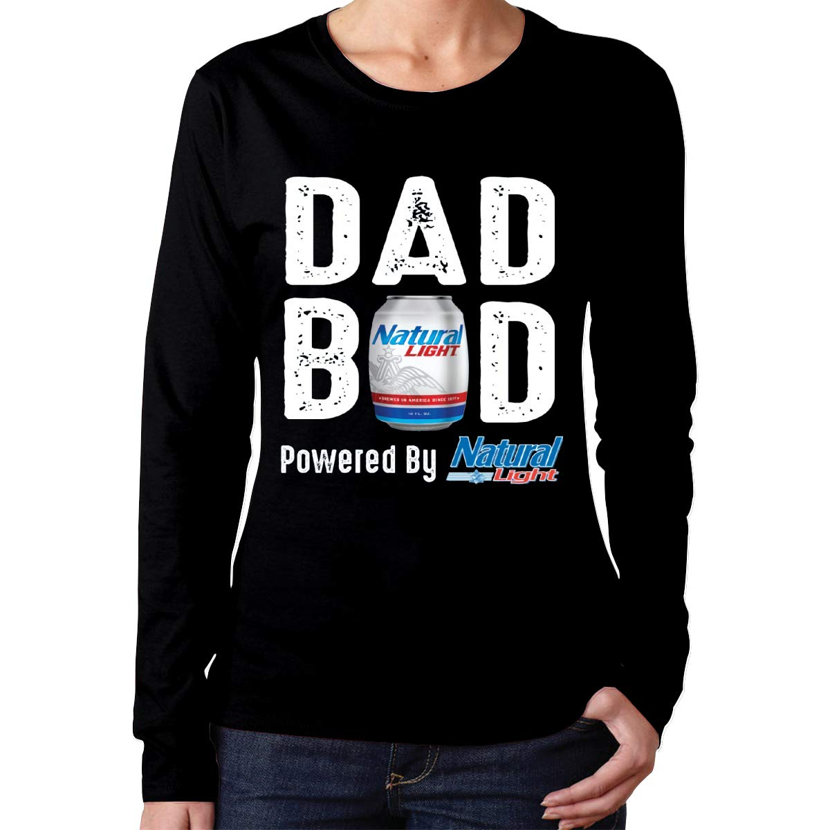 Womens Tops Dad BOD Powered by Natural Light Long Sleeve T-Shirt