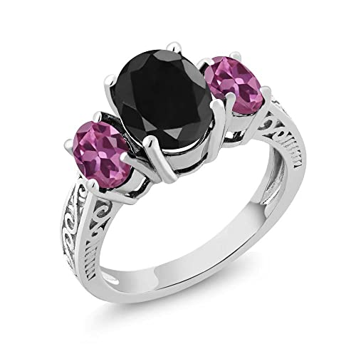 Gem Stone King 3.54 Ct Oval Black Sapphire Pink Tourmaline 925 Sterling Silver 3-Stone Ring Available 5,6,7,8,9