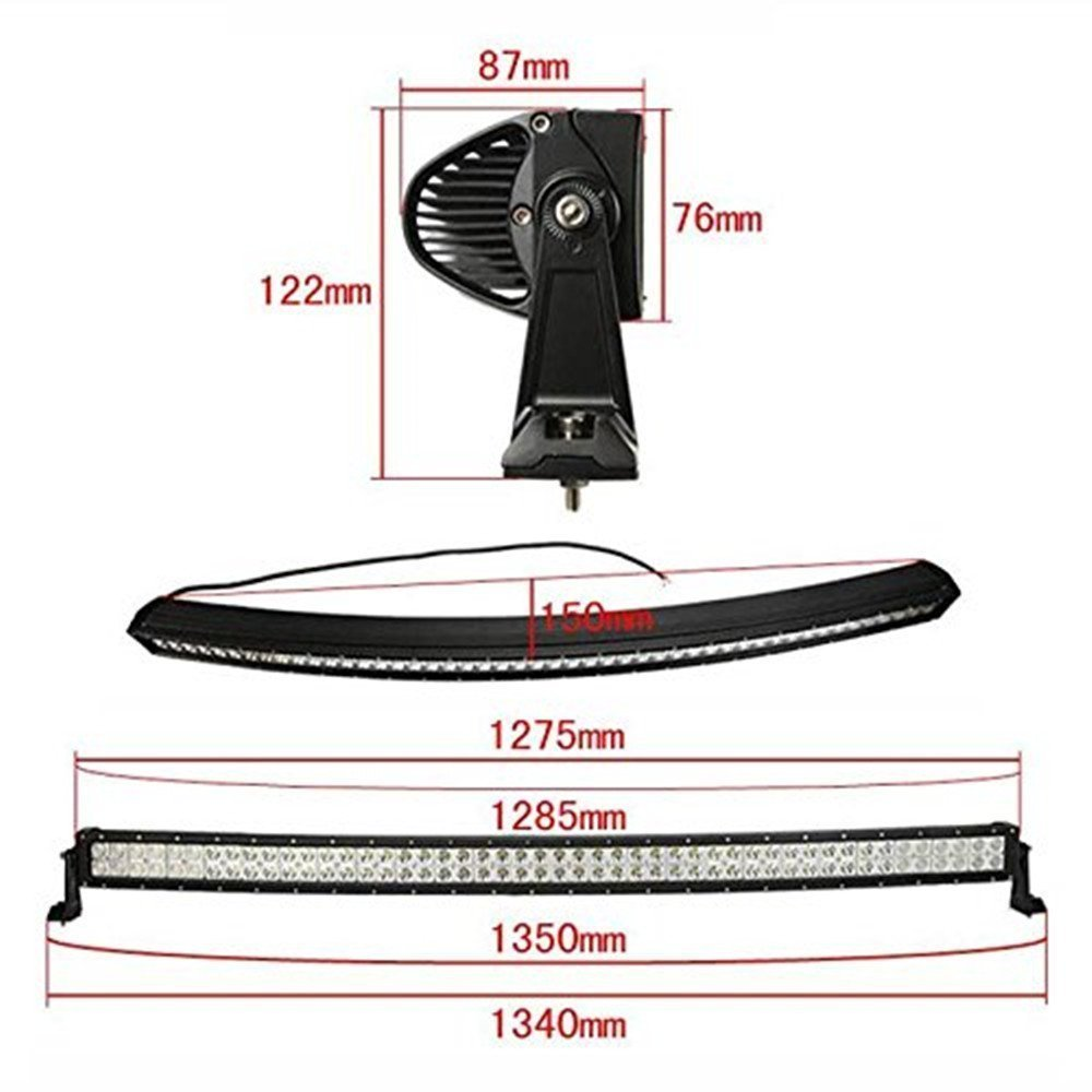 Penton 300w 52 Inch 10v 30v Curved Cree Led Work Light Wire Harness Bar Flood Spot Offroad Suv Ute Atv Truck With Wiring And Mounts Automotive