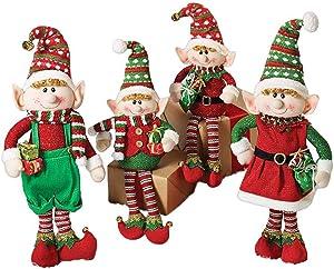 Set of 4 Christmas Elves Plush Figurines for Holiday Home Decor