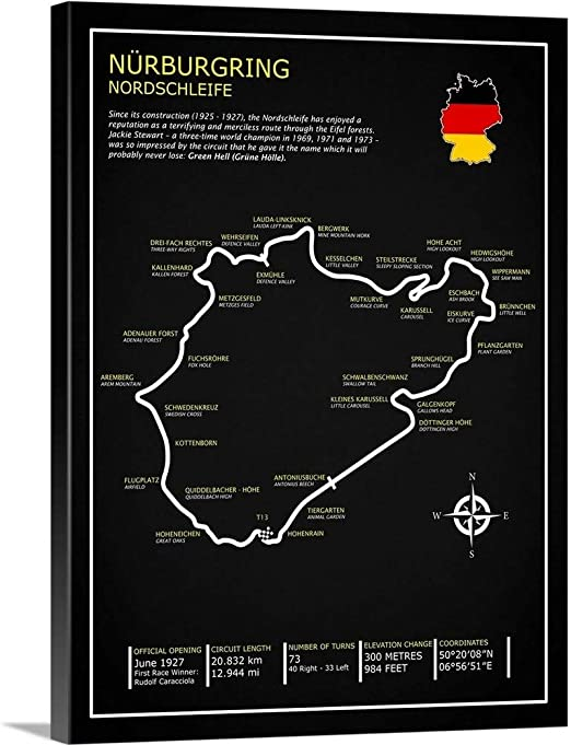 Amazon Com Nurburgring Nordschleife Bl Canvas Wall Art Print 18 X24 X1 25 Posters Prints