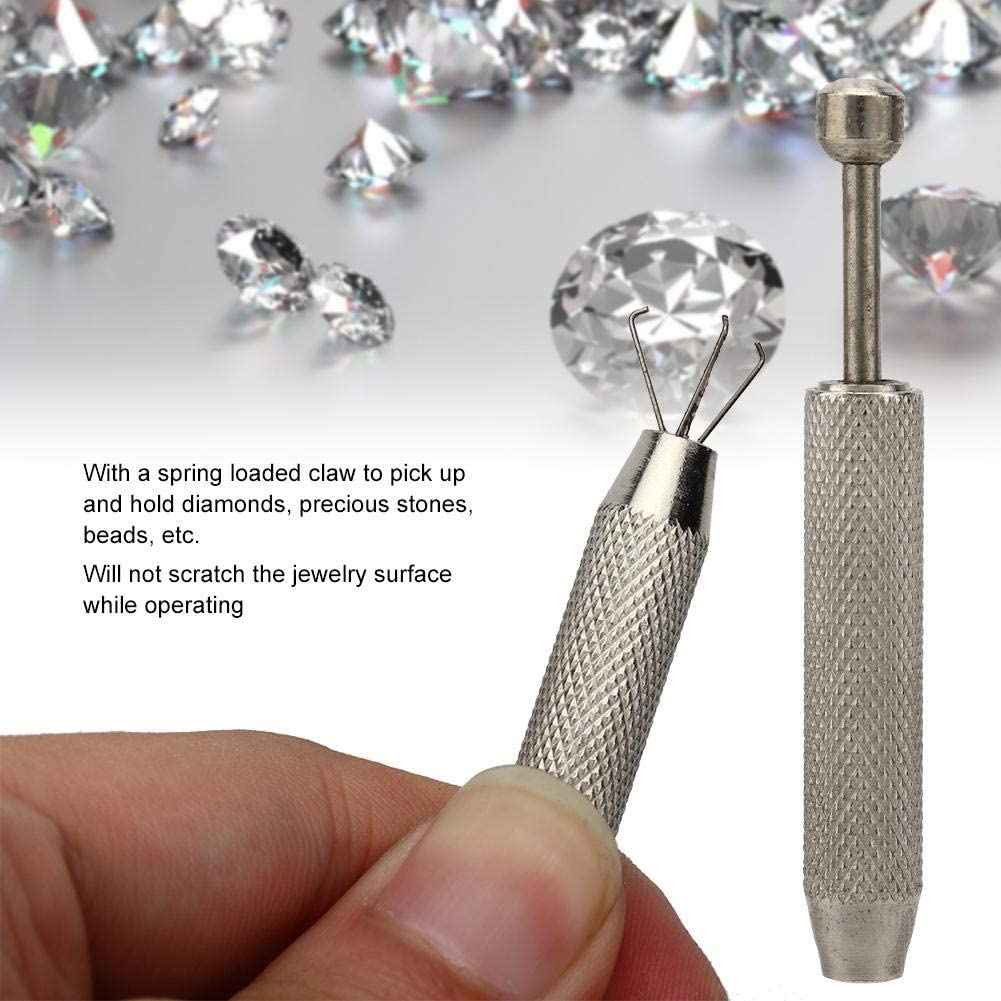 Garra de Diamante de Acero Inoxidable TMISHION Pinzas de Herramienta de Recogida de Garra de Diamante de Acero Inoxidable para Cuentas de Piedra de joyer/ía