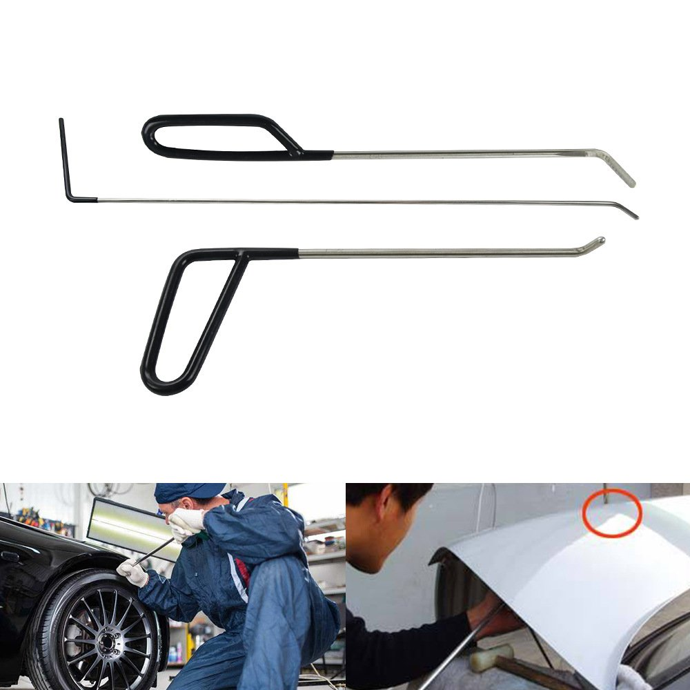 MMPP PDR Tools PDR Rods PDR Hail Repair Tools Paintless Dent Repair Tools Kit Car Auto Body Dent Removal of Hail Dents and Door Ding (3 Pieces)