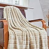 Bertte Ultra Velvet Plush Super Soft Decorative Stripe Throw Blanket-50'x 60', Light Beige