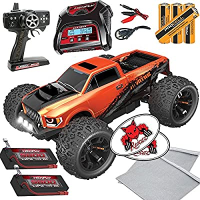 Team RedCat TRMT10E Orange 1:10 RC Monster Truck Bundle (8 Items) Brushless RTR Kit + Hexfly Balance Charger + x2 LIPO 5800mAh Batteries +x2 Flame Ret Charging Bag +AA ProCell Batteries +RedCat Decals