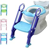 Potty Training Toilet Seat with Step Stool Ladder for Kids Children Baby Toddler Toilet Training Seat Chair with Soft Cushion