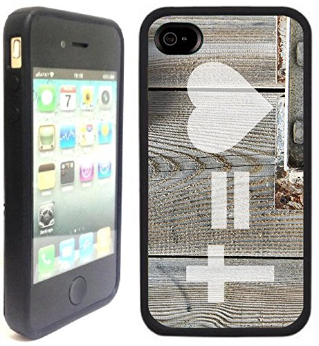 Cross Equals Love | Chrétien | Fait à la main | iPhone 4 4s | Etui Housse noir