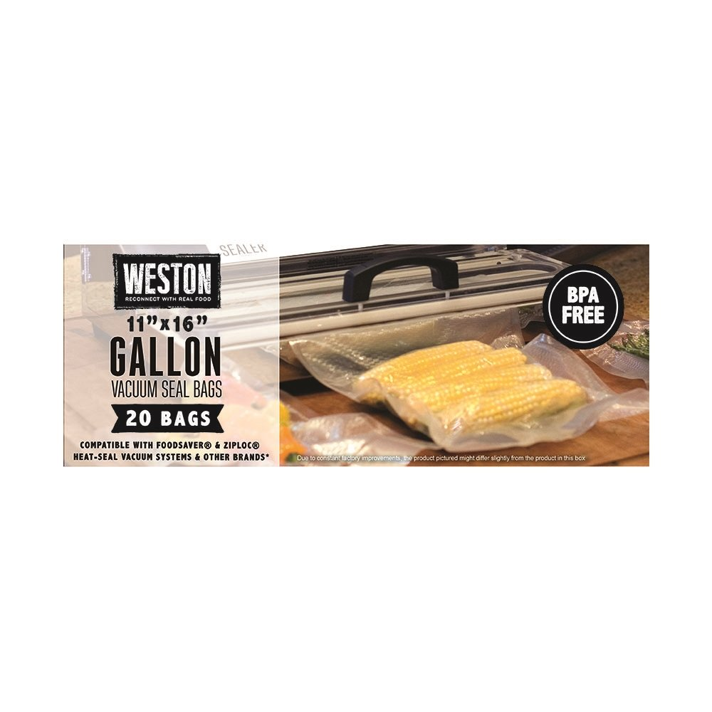 Weston 30-0109-W 20 Count Gallon Vacuum Seal Bags, Transparent by Weston
