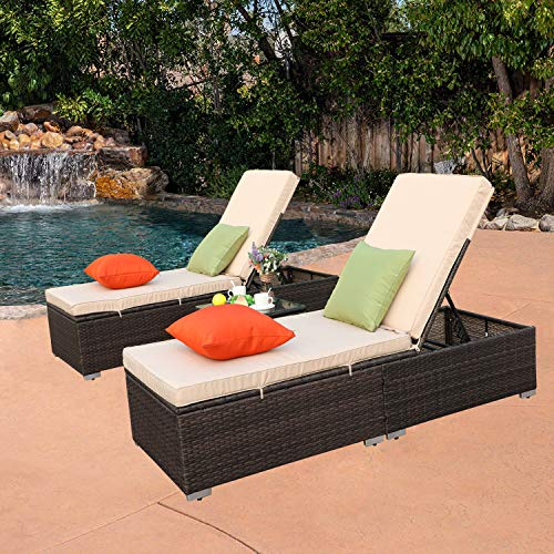 Do4U 3 Pcs Outdoor Chaise Lounge - Easy to Assemble - Thick & Comfy Cushion Wicker Lounge Chairs Include 1 Table and 2 Chaise Lounge- Mix Rattan with Light Brown Cushion (MIX-7333) ()