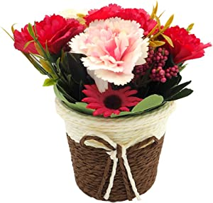 SUPNIU Artificial Carnation Sunflower with Rattan Vase Silk Fake Flower Artificial Simulation Plant Bonsai Set Home Office Bathroom Desk Wedding Decorations (RED)