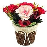 Artificial Carnation Sunflower with Rattan Vase Silk Fake Flower Artificial Simulation Plant Bonsai Set Home Office Bathroom