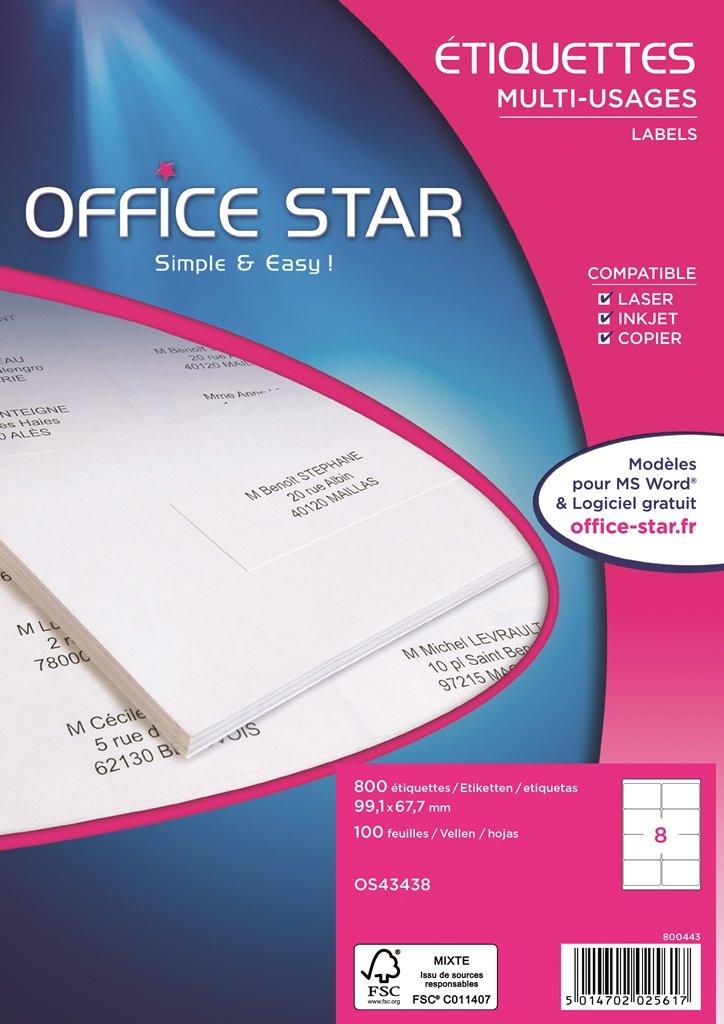 Office - Star OS43438 - Office Etiquetas multiuso, 800 unidades, blanco 2eb191