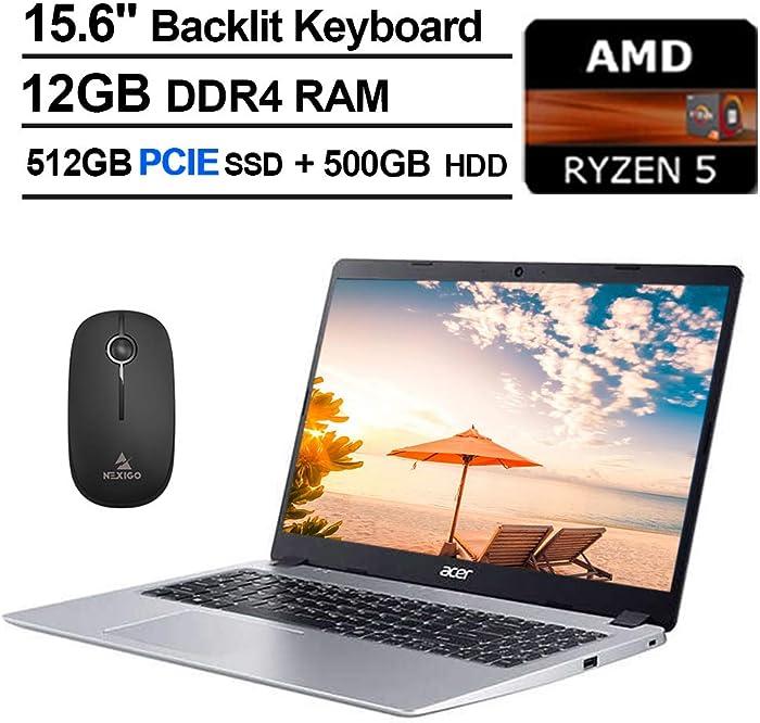 2020 Acer Aspire 5 15.6 Inch FHD 1080P Laptop, AMD Ryzen 5 3500U up to 3.7 GHz, 12GB RAM, 512GB PCIE SSD (Boot) + 500GB HDD, Backlit KB, Bluetooth, Webcam, Win10 + NexiGo Wireless Mouse Bundle