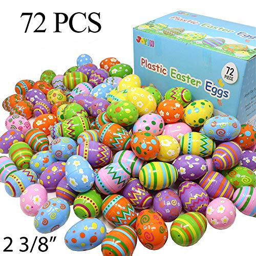 Joyin Toy 72 Pcs Plastic Printed Bright Easter Eggs 2 3/8