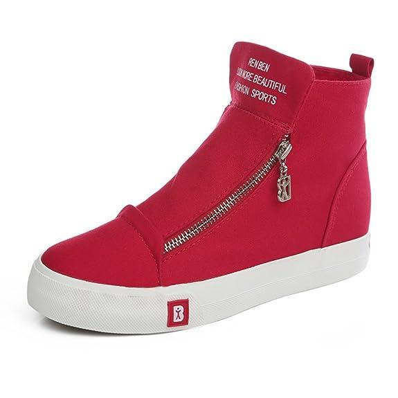 Estudiantes un color lona otoño chicas/Zapatos ocasionales de alta ayuda agregando/Zip plano casuales zapatos-C Longitud del pie=24.3CM(9.6Inch) JeBRBv