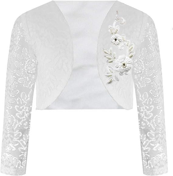 UK Kid Girls Bolero Shrug Short Cardigan For Bridesmaids Flower Girls Lace Party