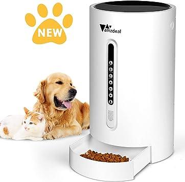 Amzdeal Comedero Automático para Perros Gatos - Dispensador de ...