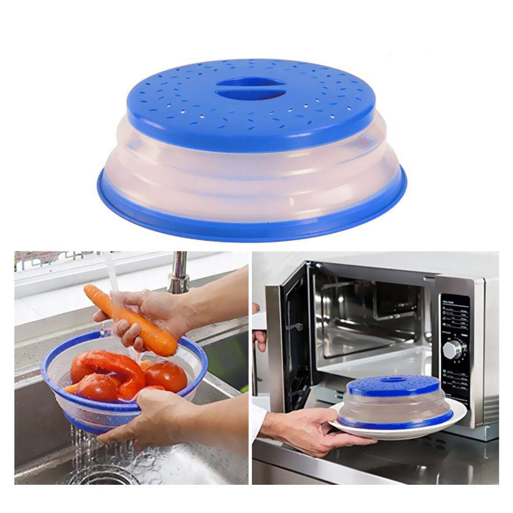 BESYZY 2PCS Tapa Microondas Plegable Colador plegable para microondas para frutas e verduras con Ventilaci/ón Plastico