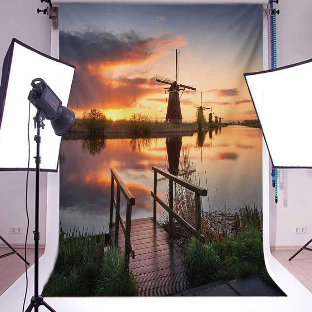 6.5x10 FT Backdrop Photographers,Landscape with Traditional Famous Dutch Windmills on Background Near Canal Photo Background for Photography Kids Adult Photo Booth Video Shoot Vinyl Studio Props