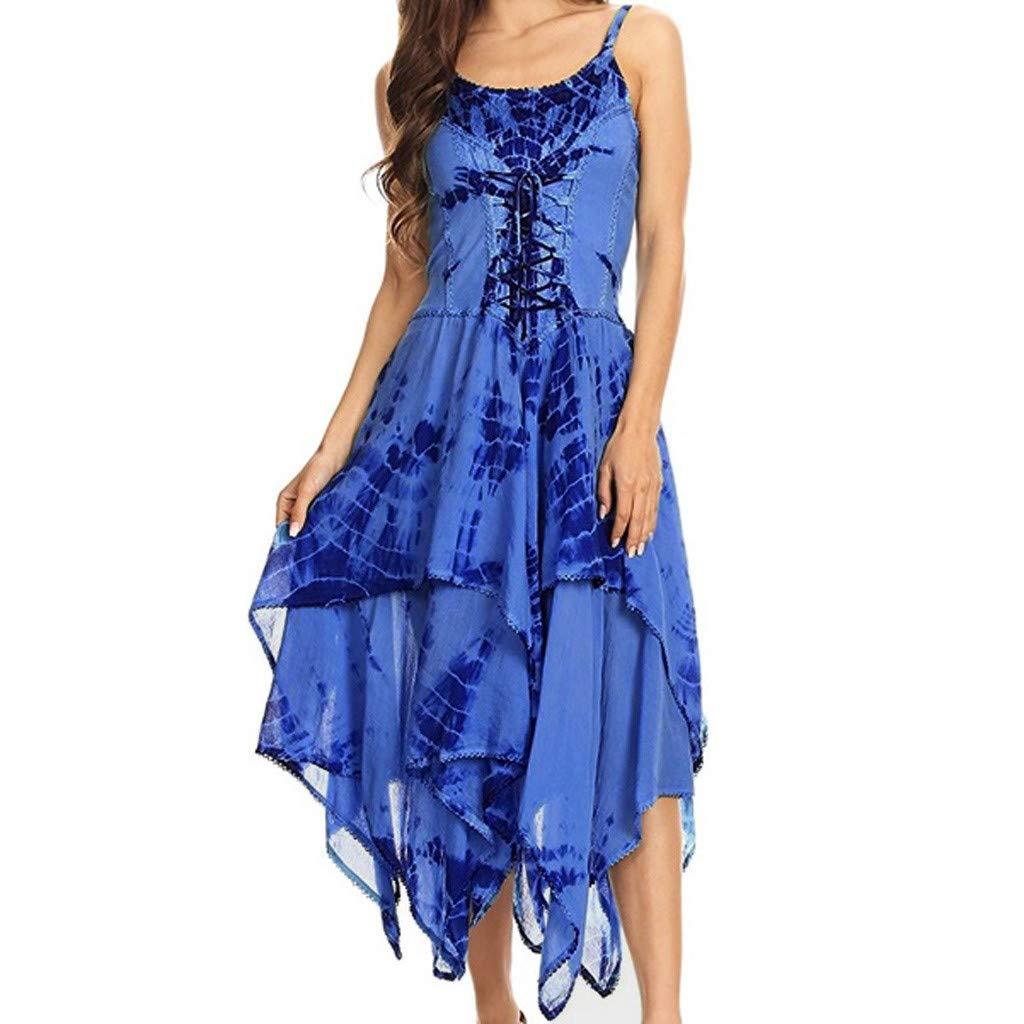 COOKI Women Dresses Irregular Tie Dye Sleeveless Lace Up Corset Bodice Handkerchief Hem Dress Summer Beach Sun Dress Blue by COOKI Women Dresses